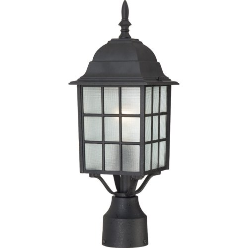 Nuvo Lighting 604909 Adams One Light Post Lantern 100 Watt A19 Max Frosted Glass Textured Black Outdoor Fixture