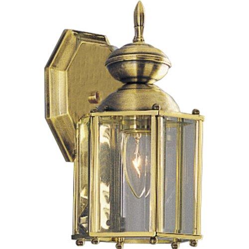 Progress Lighting P5756-10 Wall Lantern With Beveled Glass Panels Open Bottom Polished Brass