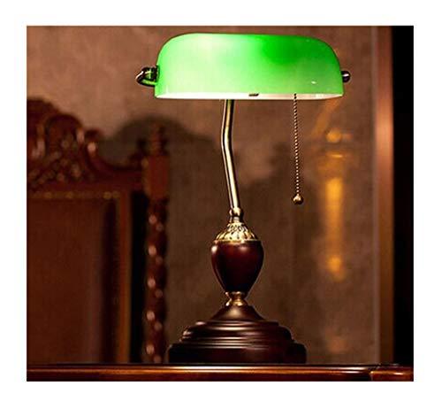 HN Lighting Antique Style Emerald Green Glass Desk LightLiving Room Bedroom Traditional Bankers Lamp