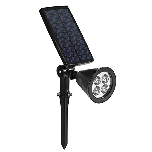 Dostyle Solar Spotlights Bigger Solar Panels 2-in-1 350° Adjustable 4 LED Lights Outdoor Waterproof Landscape Lighting Security Light for Driveway Yard Lawn Pathway Garden etc 1 Pack