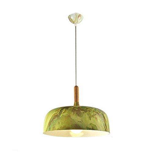 Qiaoba- Retro Lighting Living RoomBedroomKitchenBarRestaurantAisleBalcony Aluminum Imitation Wood Pendant Light green