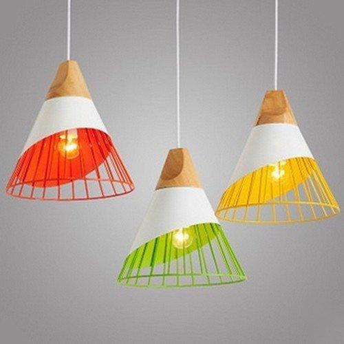 Qiaoba- Retro Lighting Living RoomBedroomKitchenBarRestaurantAisleBalcony Wood Aluminum Pendant Light singlegreen