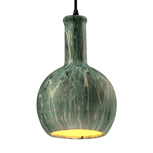 SH-61131Globe Vase Shape Pendant LightNordic Simple Chandeliers with 1 BulbOcean Green Ceramic Pendant LampAdjustable Height Hanging for Restaurant