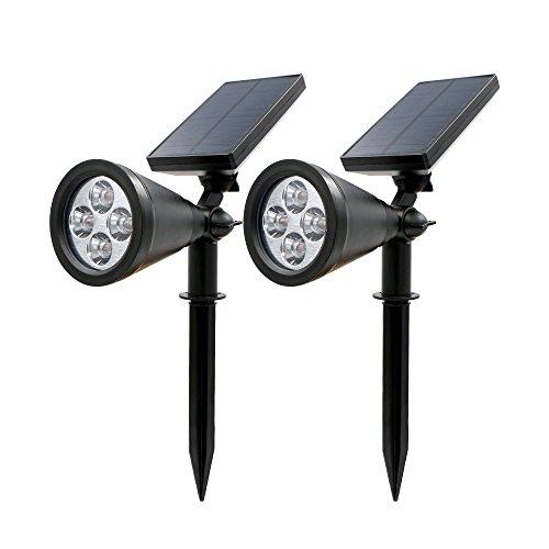 Rusee Solar Lights Spotlight Outdoor Landscape Lighting Waterproof Wall Light Security Night Lights, Dark Sensing