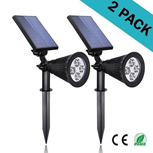 Solar Lights 2-in-1 Led Outdoor Landscape Lighting - 200 Lumens Spotlight – 2 Pack – Easy To Install – Waterproof