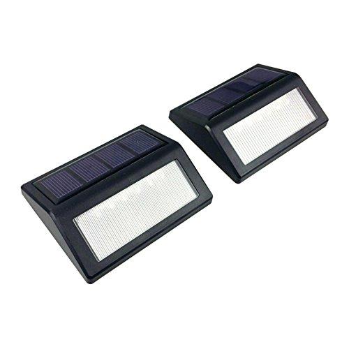 IEVE Waterproof LED Fence Llights Outdoor Solar Powered Sensor Garden Step Wall Lamp 2PCS