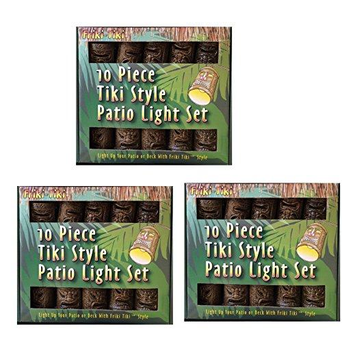 3 Pack  Friki-Tiki 10 Piece Natural Tiki Patio String Light Set