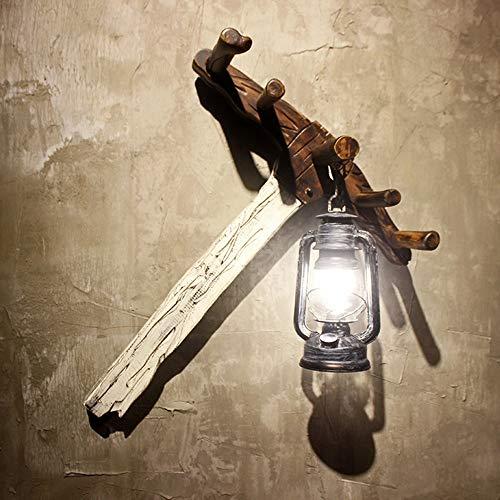 BuyBuyBuy Wall Rake Iron Wooden Lighting Antique Kerosene Lantern Hanging Classic Retro Glass Wall Wall Decoration Home Lighting Fixture 62 51 20cm Discover The Light