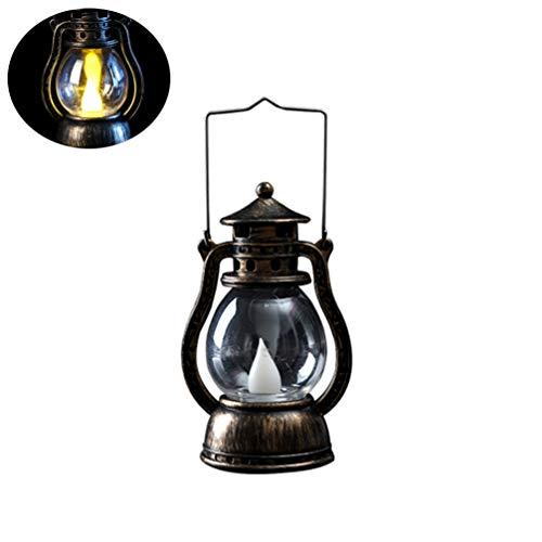 Mobestech LED Table Lantern Vintage Kerosene Hanging Lantern LED Candle Lantern for Halloween Christmas Home 2Pcs Bronze