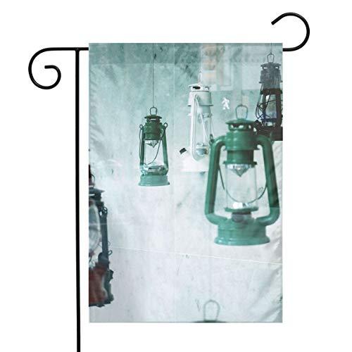 Tbdhwg Four Assorted-Color Kerosene Lanterns Garden Flag 12 18 in Beautiful Pattern for Decorating Courtyards Gardens Etc