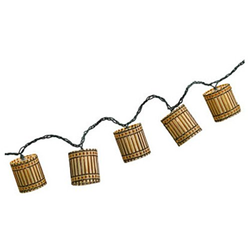 Luckytown Home Product Four Seasons Courtyard AC-156-7-FS 10-Light Bamboo Cylinder String Light Set