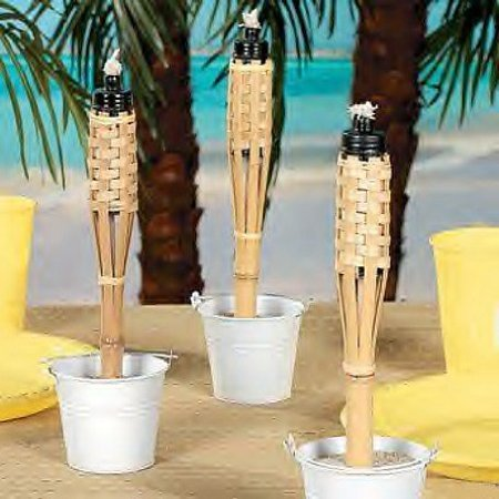 Mini Bamboo Tiki Torches case Of 12 Luau Party Tabletop Lighting