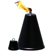 Hawaiian Cone Tabletop Tiki Torch Landscape Torch Oil Lamp Tabletop Lantern smooth Black