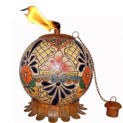 Mexican Clay Tabletop Tiki Torch Artisan Collection Tabletop Oil Lamp Tiki Torch Landscape Torch Torch Tiki