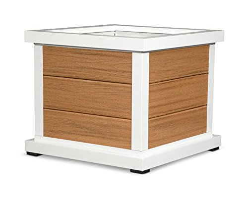 Trex Outdoor Furniture Cube 24 Planter 3 Board in Satin White  Tiki Torch