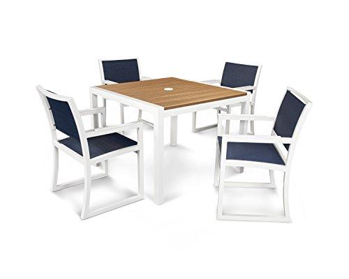 Trex Outdoor Furniture Parsons 5-piece Dining Set In Satin White  Tiki Torch  Sapphire