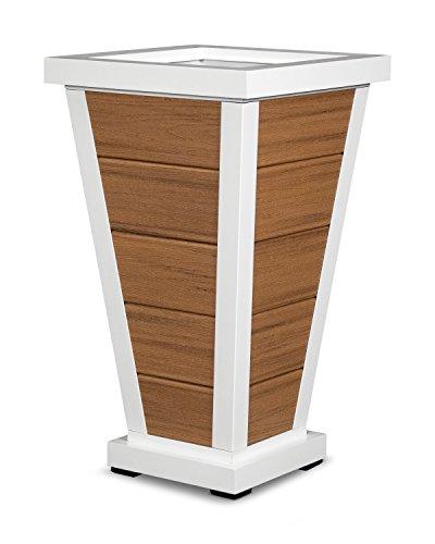 Trex Outdoor Furniture Pyramid 18&quot Planter 5 Board In Satin White  Tiki Torch