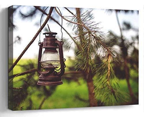 Wall Art Canvas Print Photo Artwork Home Decor 24x16 inches- Kerosene Lamp Woods Paraffin Light Old Vinta