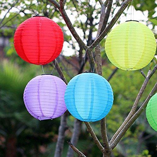 SINOMANN10 Solar Powered LED Lamps Light Chinese Nylon Fabric Lantern Lamp Lighting for Home Garden Outdoors Fixtures Decoration-Cool White