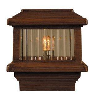 Titan Flat Top Deck Light Natural Broun Fits 3 12&quot Post 3 58&quot Actual Opening 18 Watt 1 Lite