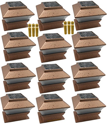 12 Pack Outdoor Garden Solar Led Copper Post Cap Fence Pathway Landscape Deck Square Light Lights  Free Bonus