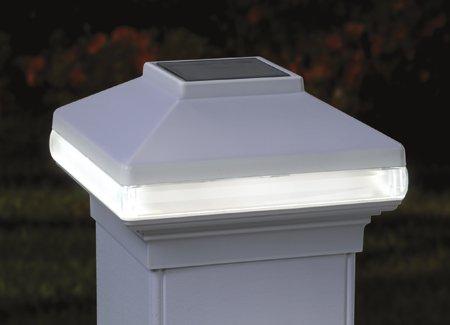 Solarband Post Cap Deckorators  128980 Solar Led Deck Light 4&quot Post White