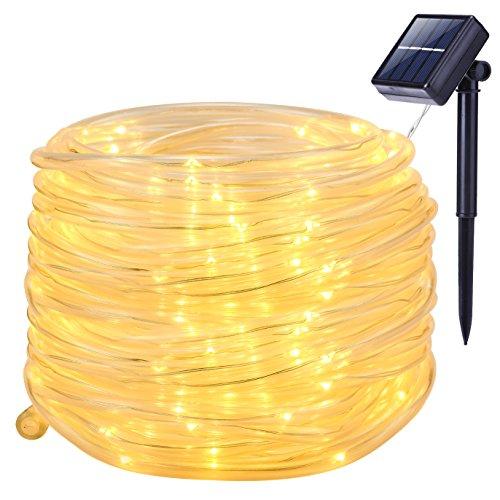 Solar Lights OutdoorOak Leaf 41ft 100LED Waterproof Copper Wire Rope String Lights For GardenYardPathBackyardPatioWarm White