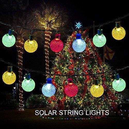 "Solar String LightsPkmanâ""¢Outdoor Solar Powered Globe Fairy String Lights 20ft 30 LED Crystal Ball Waterproof Lights for GardenPatioYardLawnWedding Decorate Christmas lightsMulti Color"