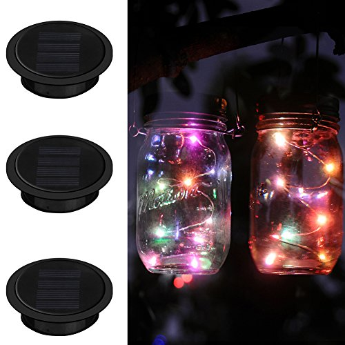 Ithird Solar Mason Jar Lights 3 Pack Led Color Changing Solar Fairy Lights Lids Insert For Garden Deck Patio Decor