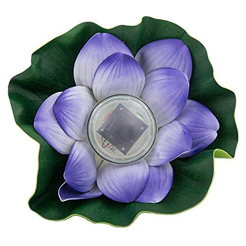 Whitelotous Solar Power Energy Floating LED Lotus Light Flower Lamp for Garden Pond Fountain Purple