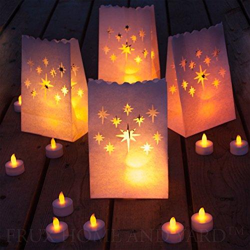 Frux 24 Flameless Tea Lights - Yellow Flickering Led Tealight Candles With 12 Bonus Luminary Bags