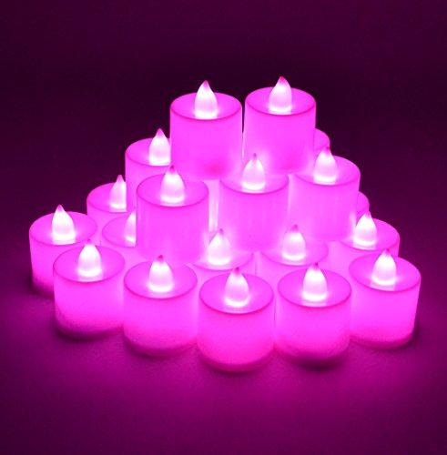 Samyo Set Of 24 Battery Flamelessamp Smokeless Led Tealight Candles - Pink Candlelight