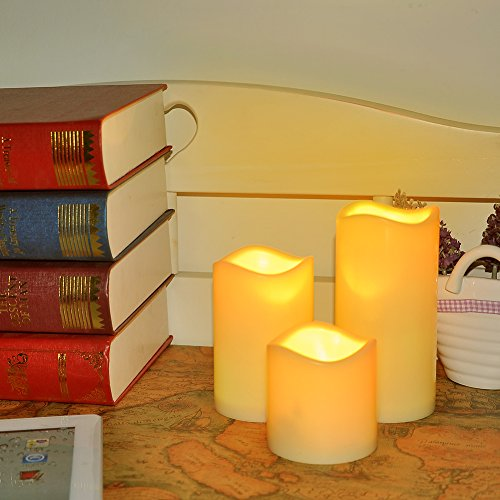 Zhangming 3pcs Battery Operated Candles with Timer Flickering Candle Flameless Candles with Remote Control 18 Keys
