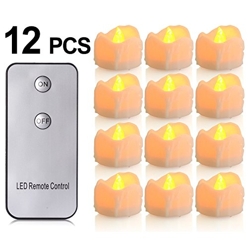 Battery Candles With Remote 12 Packs Pchero Battery Operated Candle Led Unscented Flickering Flameless Tea Lights