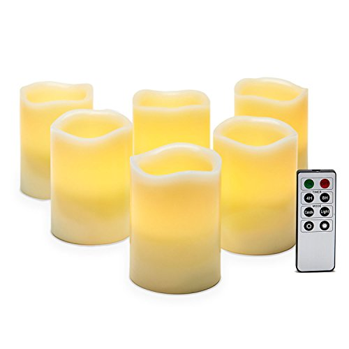 Set Of 6 Ivory Melted Edge 4&quot Flameless Wax Pillar Candles With Remote