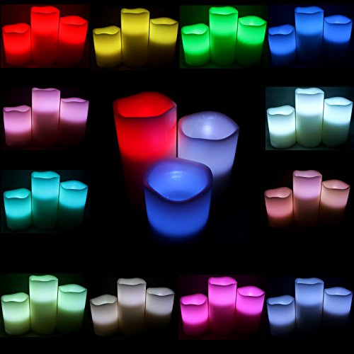 We Can Package LED Flameless Wax Pillar Candle Lights with 12 Changing Colors Remote 3pcspk