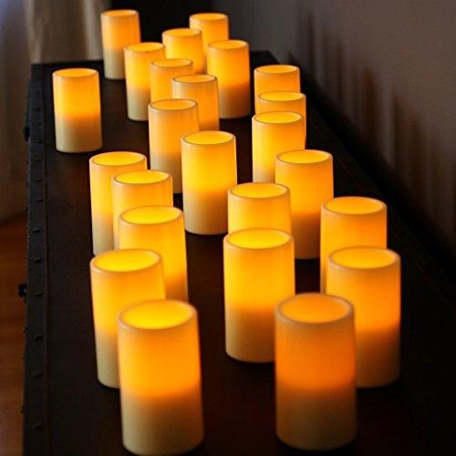 24pk Outdoor Flameless Battery Led Pillar Candles Made Of Resin Wont Melt Weather Resistant Design