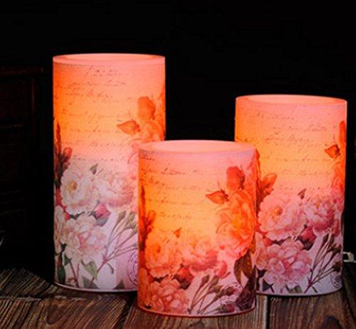 Sweet Spring Water Beautiful Peony Flameless LED Pillar CandlesSet of 3