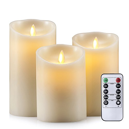 Air Zuker Flameless Candles Super-long Battery Life Dancing Flame Pillar Led Candle Battery Operated Wax Candles