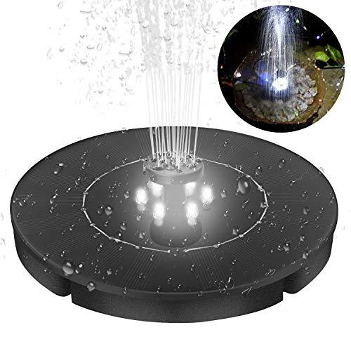 24W Solar Fountain for Bird Bath Pond Garden Decoration with LED Night Light 4 Different Spray Pattern Heads