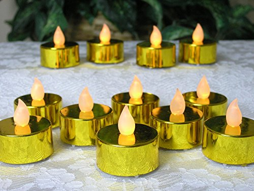 Gold Candles - Set of 24 - Realistic Flickering Flame - Battery Operated - Tealights for 50th Wedding Anniversary Decorations Parties Home Decor Centerpieces Safe Worry Free