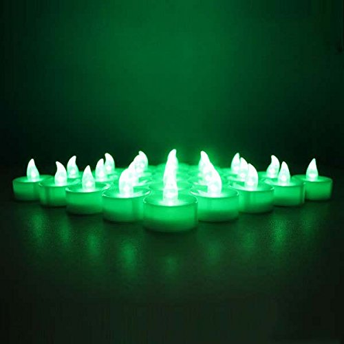 12-battery-powered Green Flameless Led Frosted Flickering Tealight Candles Battery Powered Electric Tea Lights