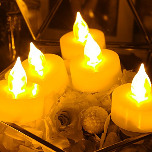 6 PCS Premium Flameless Tealights with Timer LED Tealights Battery Powered Tealights Battery-operated Tea Lights with Timer Long Battery Life 200 Hours Battery Life