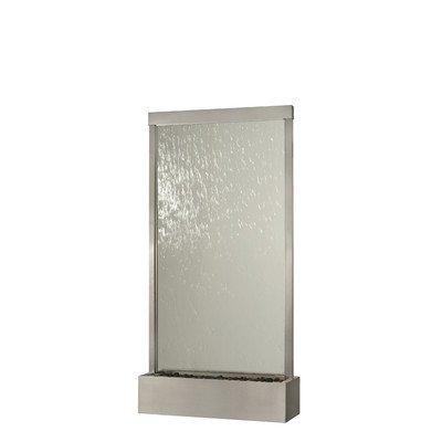 BluWorld 94 in Waterfall Grande IndoorOutdoor Floor Fountain - Brushed Stainless Steel - Clear Glass