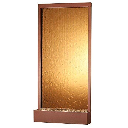 BluWorld 94 in Waterfall Grande IndoorOutdoor Floor Fountain - Copper Vein - Bronze Mirror