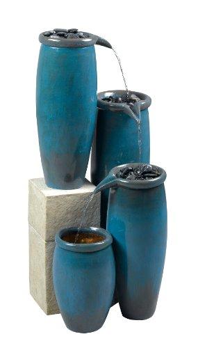 Kenroy Home 50008BG Agua IndoorOutdoor Floor Fountain in Blue Glaze Finish