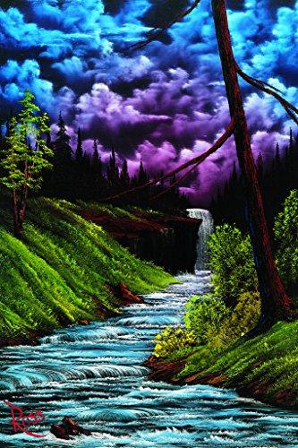 Bob Ross Black Waterfall Art Print Painting Cool Wall Decor Art Print Poster 24x36