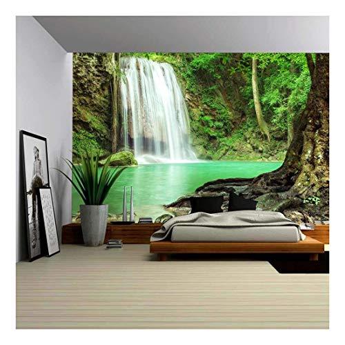 wall26 - Erawan Waterfall in Kanchanaburi Thailand - Removable Wall Mural  Self-adhesive Large Wallpaper - 100x144 inches