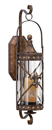 Deco 79 Rustic Fleur-de-Lis-Designed Metal Candle Sconce 20 H x 7 L Textured Bronze Finish