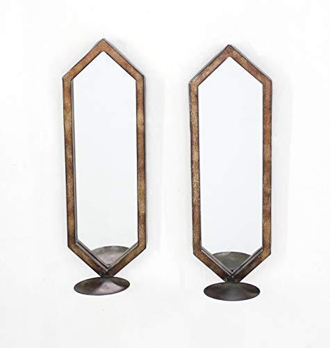 1575 X 5 X 5 Tan Minimalist Mirrored Wall Candle Holder Sconce Set